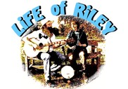 Ceilidh Band, Life of Riley, showing Morris Wintle and caller Penny Plowden with banjo, Irish whistles and guitar.