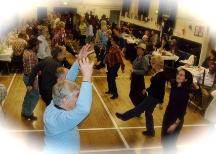 Cwmbran ceilidh band, Life of Riley, playing and calling for a party near Cwmbran